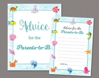 Advice for the Parents to Be Printable, Baby Shower Advice Cards, Under the Sea, Ocean, Underwater, Instant Download, Mommy Daddy, SBS6