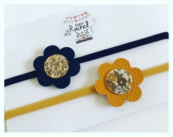 Navy & Mustard Flower Hairbands