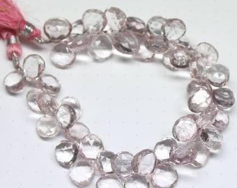 "Blue Mystic Quartz Faceted Heart Drop Gemstone Loose Beads Strand 8"" 8mm 9mm"
