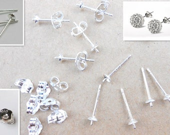 5 pairs Sterling Silver Ear Pins for Stud Earrings, Earring posts, Sterling Silver Earrings Posts, USA Seller