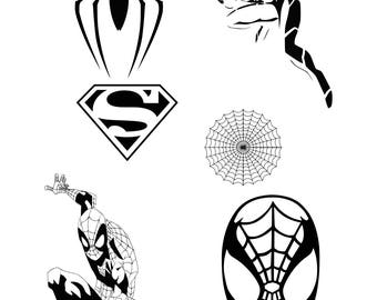Spiderman svg clipart silhouette - Spider man vector files collection digital download, dxf, eps, png