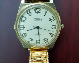 Soviet Watch Slava. Russian Men Mechanical Wristwatch ,Gold plated