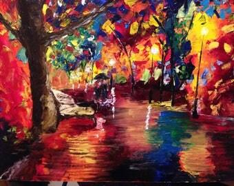 A rainy, romantic walk in the park