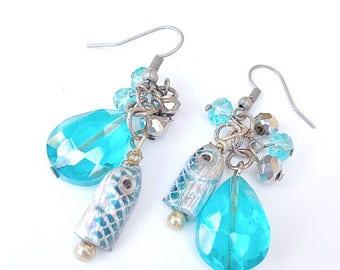 Blue Fishing Lure Earrings