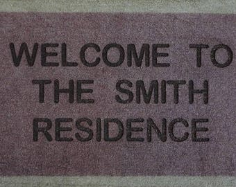 Dark  Brown  Personalised Engraved Machine Washable Door Mat  40cm x 70cm Internal Dirt Trapper Great for Dirty Paws