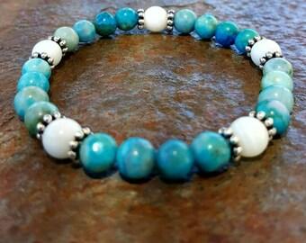 Jasper Bracelet blue bracelet blue and white bracelet stacking bracelet Womens bracelet gift for her bracelet beaded bracelet