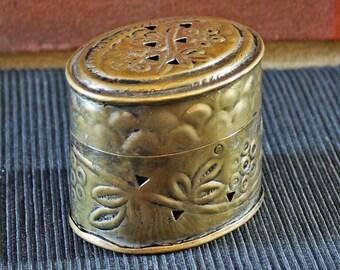 Miniature INDIAN Vintage oval tin box (jewelry box, trinket box)