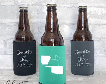 personalized can cooler / wedding favor / wedding can cooler / custom can cooler / custom wedding favors / custom state wedding / WEK-02