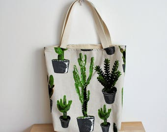 Cactus tote | cactus plant bag | cactus print tote | bag cactus | book bag cactus | botanic pattern | book bag plants | botanic print tote