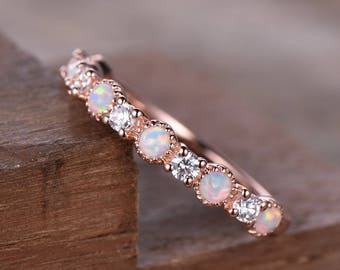 opal wedding band opal wedding ring cz diamond eternity band rose gold plated sterling silver ring - Opal Wedding Ring