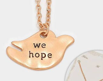 We hop , adorable kids necklace in rose gold