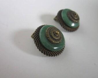 Vintage Designer Jan Michaels San Francisco Retro Jade & Bronze Clip on Earrings