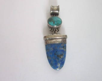 Vintage Native American Sterling Silver with Turquoise & Lapis Lazuli