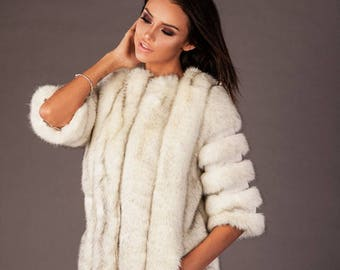 Woman faux fur coat, Fashionable winter coat, Eco friendly outwear, Stylish faux fur garment