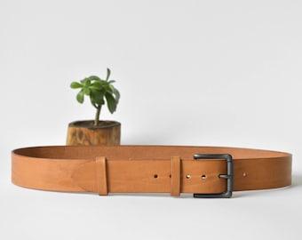 "Natural leather belt Men Women Black Roller Buckle Full grain Vegetable leather Veg tan simple birthday present 1 1/2"" wide"