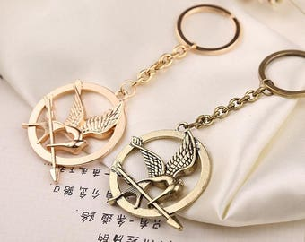 The Hunger Games Movie Inspired Mockingjay Bird Badge Key Chain Key Rings Cosplay Gold Bronze