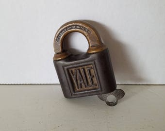 Antique Yale and Towns MFG, Co, Bronze Push Padlock and Key, Steamtrunk