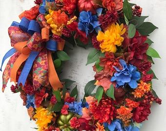 Fall Wreath, Floral Wreath, Autumn Wreath, Fall Grapevine Wreath, Fall Floral Wreath, Grapevine Wreath, Pumpkin Wreath, Fromt Door Wreath
