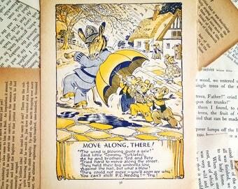 vintage children's book page , ephemera