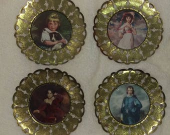 Four Vintage Ornate Brass Wall Plaques Round Solid Brass Ornate Picture Frames With Butterflies Victorian Prints