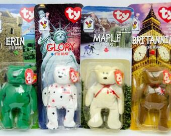Lot of 4 Ty Original Beanie Babies Bears Erin Glory Maple & Britannia