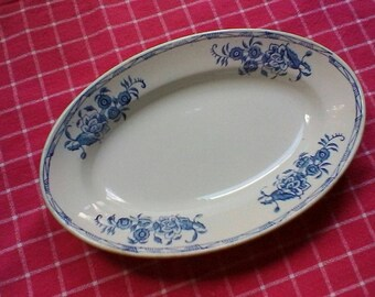 Blue and White Hors d'œuvre Dish - French vintage St Amand ravier
