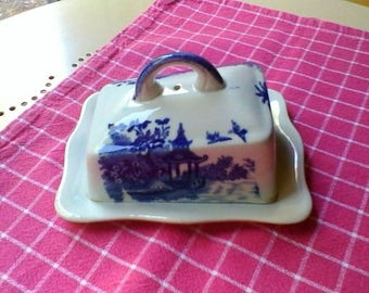 Blue and white Butter Dish - English vintage lidded dish
