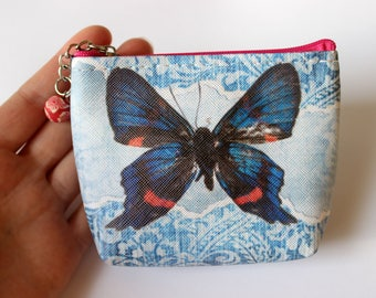 Butterfly Purse, Coin Purse, Cosmetic Purse, Make-up Purse, Make-up Pouch, Zip Pouch, Zip Purse, Butterfly Gift, Butterfly Wallet, Butterfly