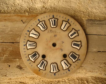 French vintage Clock face, white and black enamel on marble, 19th clock dial for shabby chic Deco