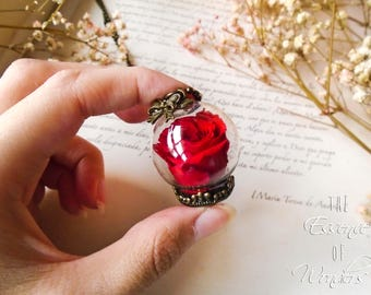 Dried rose, eternal rose, rose necklace, dried flowers necklace, floral pendant, vintage pendant, terrariumnecklace, real flowers pendant