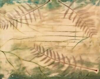 "Encaustic Art 14""x14"" Green Cream Wax Painting wirh Leaf collage on 1.5"" wood panel"