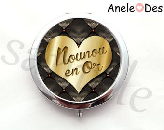 Pocket mirror gift for nanny - gold nanny - Gold Flower heart yellow cabochon