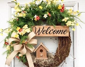 Spring Grapevine Wreath, Easter Wreath, Spring Birdhouse Wreath, Grapevine Wreath, Summer Wreath, Spring Wreath