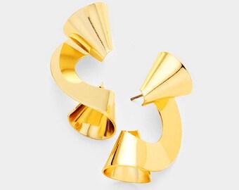 Gold Geometric Twist Metal Earrings