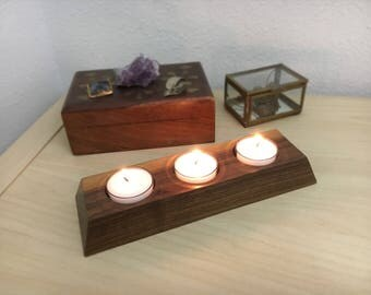Walnut Tealight Candle Holder