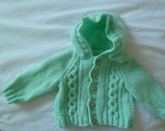 Hand knitted hooded baby jacket, baby boy's cardigan, baby shower gift