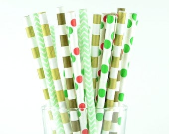 Circle/Polka Dots/Chevron Mix Paper Straws - Party Decor Supply - Cake Pop Sticks - Party Favor