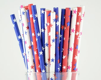 Blue/Red/White Mix Stars Blue Paper Straws  - Party Decor Supply - Cake Pop Sticks - Party Favor