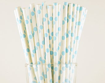 Light Blue Polka Dots Paper Straws - Mason Jar Straws - Party Decor Supply - Cake Pop Sticks - Party Favor