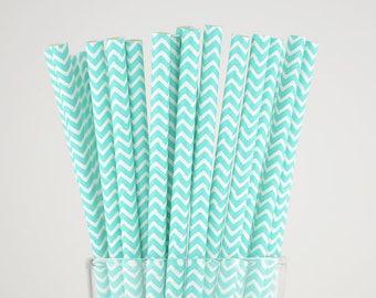 Turquoise Chevron Paper Straws - Mason Jar Straws - Party Decor Supply - Cake Pop Sticks - Party Favor