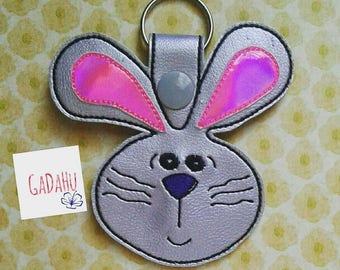Lop Eared Rabbit/Bunny Key Snap Tab Embroidery Design 4X4 size Cute Bunny