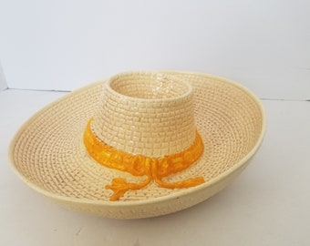 Vintage WPO USA Sombrero Hat Chips and Salsa Dip Tray Party Decor