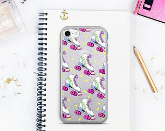 iPhone 7 Case, iPhone 7 Plus Case, Rollerskates iPhone case, Retro phone case, Clear iPhone case, 90s phone case
