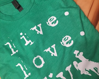 Ouray Sports Envy Green Live Love Wyo Tee