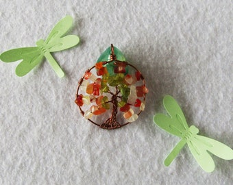 Glass Tree of life, autumn colors, Autumn tree, lucky charm, pendant, necklace, copper pendant