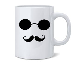 Mustache Man Art Coffee Mug | Ceramic Tea Cup | Mustache Mugs Available in Black Or Blue