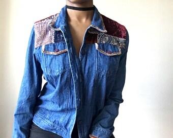 Vintage 90s  Denim Blue Jean Jacket with Patchwork