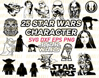 star wars svg, cut files, silhouette, eps, png, dxf, Darth Vader, stencil, R2D2, yoda, storm trooper, cricut ,image, starwars, stencil