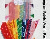 16 Fabric Washi Strips, Geogram Lecien Fabric, scrapbook, planner, washi tape