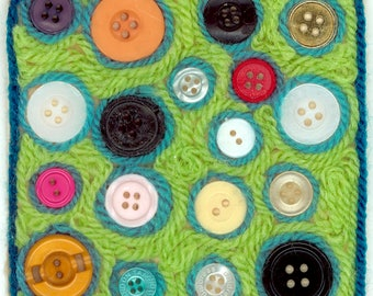 coasters, buttons and yarn, yarn art